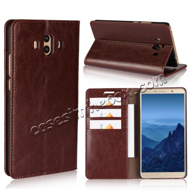 wholesale Crazy Horse Genuine Leather Case Wallet Flip Stand Cover Card Slot  for Huawei Mate 10 - Coffee