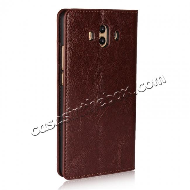 discount Crazy Horse Genuine Leather Case Wallet Flip Stand Cover Card Slot  for Huawei Mate 10 - Coffee