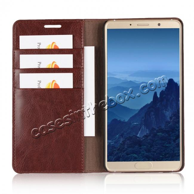 top quality Crazy Horse Genuine Leather Case Wallet Flip Stand Cover Card Slot  for Huawei Mate 10 - Coffee
