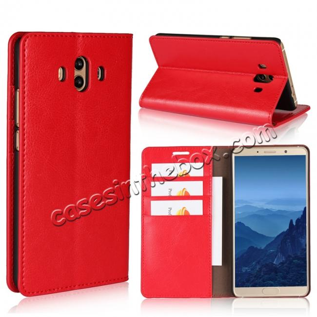 wholesale Crazy Horse Genuine Leather Case Wallet Flip Stand Cover Card Slot  for Huawei Mate 10 - Red