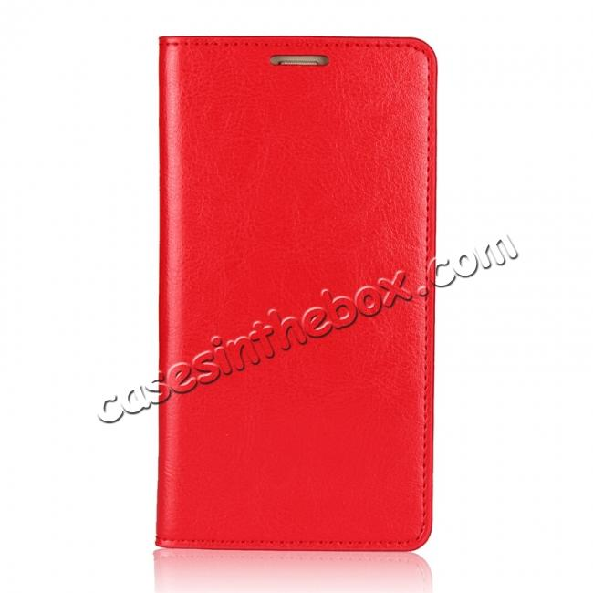 discount Crazy Horse Genuine Leather Case Wallet Flip Stand Cover Card Slot  for Huawei Mate 10 - Red