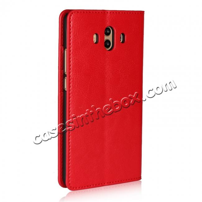 cheap Crazy Horse Genuine Leather Case Wallet Flip Stand Cover Card Slot  for Huawei Mate 10 - Red