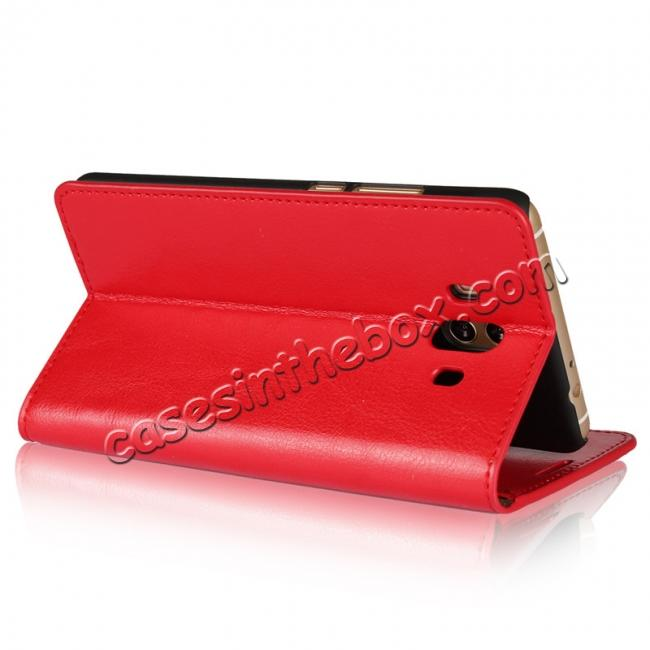best price Crazy Horse Genuine Leather Case Wallet Flip Stand Cover Card Slot  for Huawei Mate 10 - Red