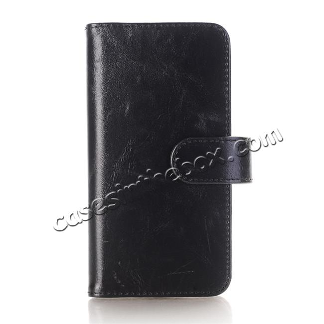 wholesale Luxury Crazy Horse Leather Flip Case Wallet With Card Holder for iPhone X - Black