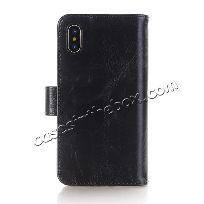discount Luxury Crazy Horse Leather Flip Case Wallet With Card Holder for iPhone X - Black