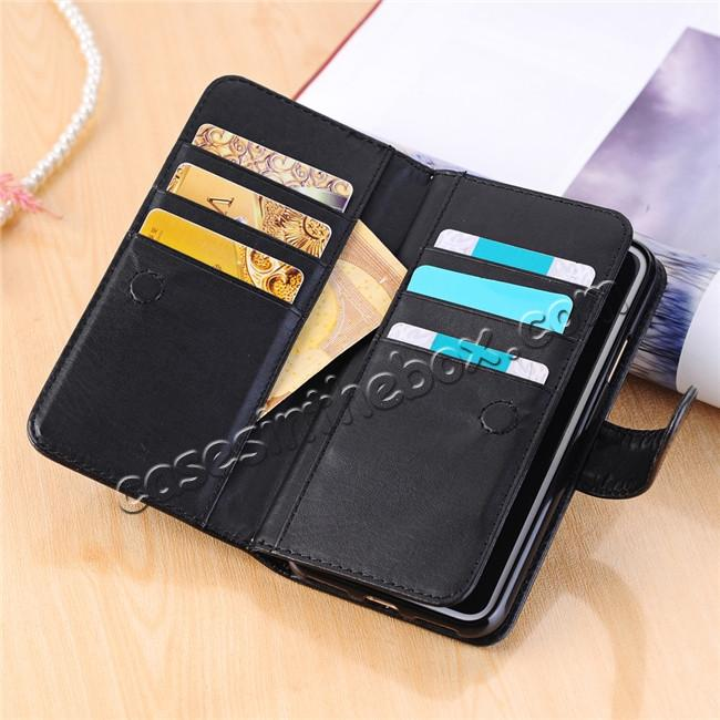 on sale Luxury Crazy Horse Leather Flip Case Wallet With Card Holder for iPhone X - Black