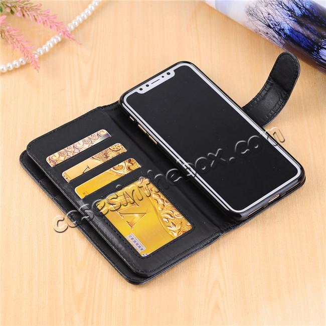 low price Luxury Crazy Horse Leather Flip Case Wallet With Card Holder for iPhone X - Black