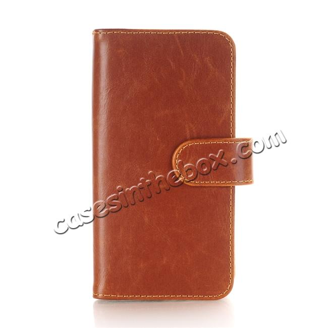 wholesale Luxury Crazy Horse Leather Flip Case Wallet With Card Holder for iPhone X - Brown