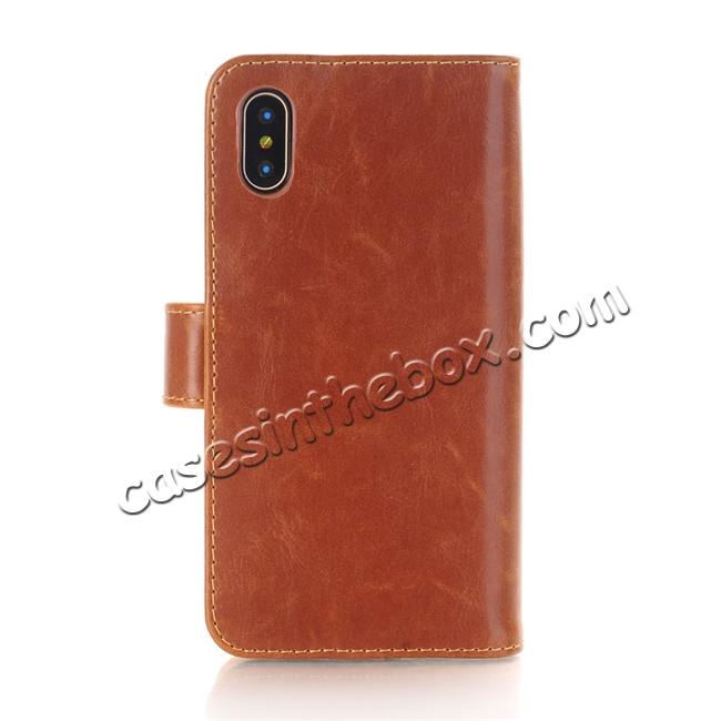 discount Luxury Crazy Horse Leather Flip Case Wallet With Card Holder for iPhone X - Brown