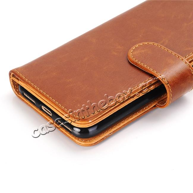 cheap Luxury Crazy Horse Leather Flip Case Wallet With Card Holder for iPhone X - Brown