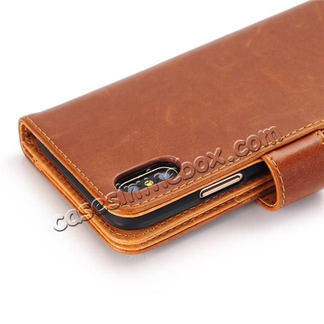top quality Luxury Crazy Horse Leather Flip Case Wallet With Card Holder for iPhone X - Brown