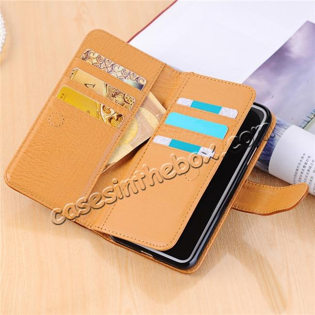 high quanlity Luxury Crazy Horse Leather Flip Case Wallet With Card Holder for iPhone X - Brown