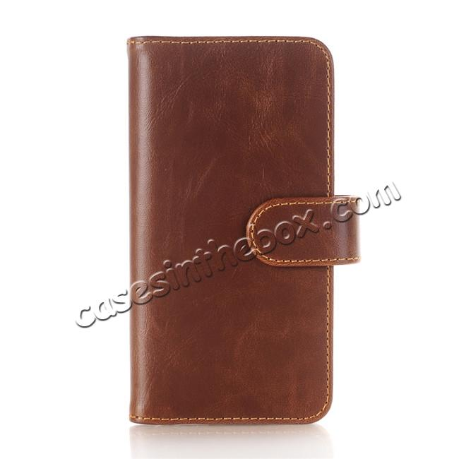wholesale Luxury Crazy Horse Leather Flip Case Wallet With Card Holder for iPhone X - Dark Brown