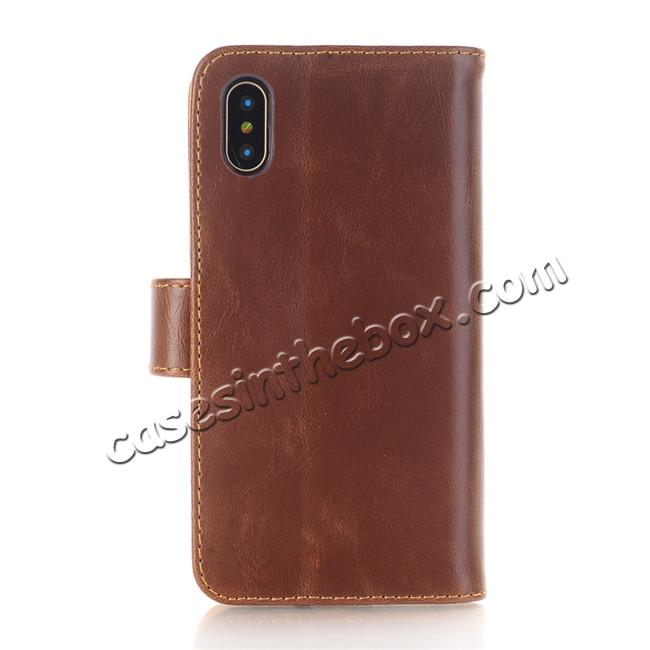 discount Luxury Crazy Horse Leather Flip Case Wallet With Card Holder for iPhone X - Dark Brown