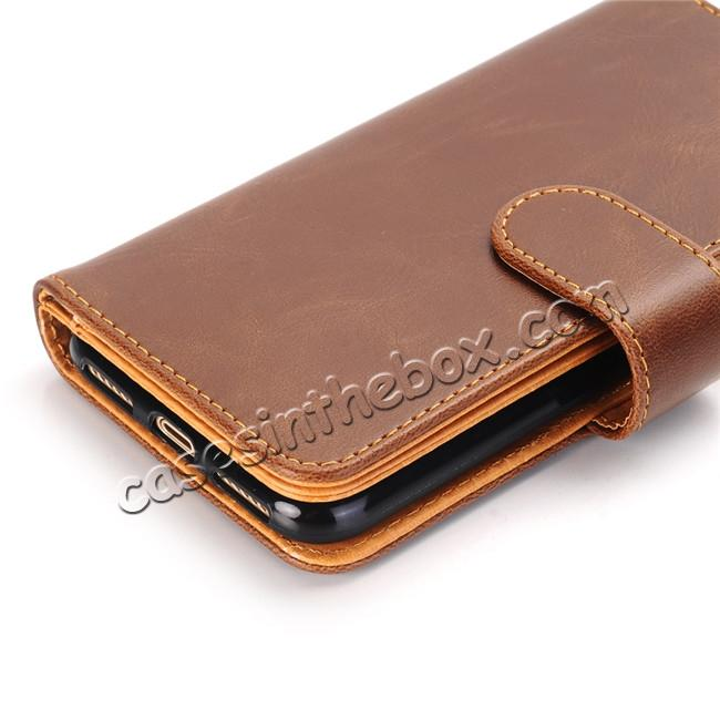 best price Luxury Crazy Horse Leather Flip Case Wallet With Card Holder for iPhone X - Dark Brown
