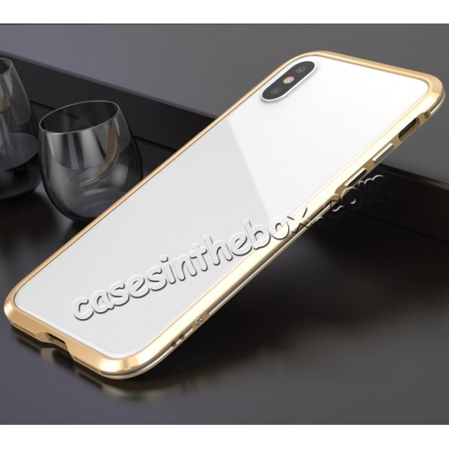 wholesale Premium Dual Color Aluminum Metal Frame Case for iPhone X - Gold&Silver