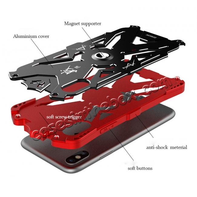 cheap Shockproof Aluminum Metal + TPU  Hybrid Case for iPhone X - Black
