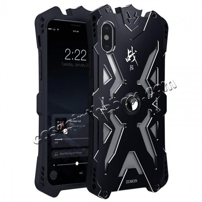 wholesale Shockproof Aluminum Metal + TPU  Hybrid Case for iPhone X - Black