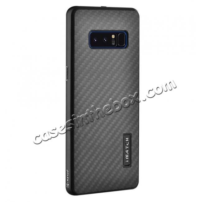 wholesale Aluminum Metal Bumper Frame Case+Carbon Fiber Back Cover For Samsung Galaxy Note 8 - Black
