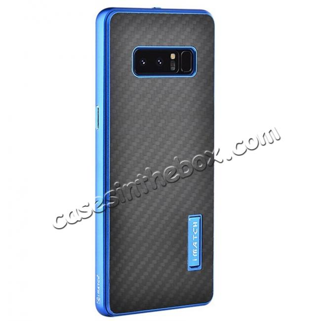 wholesale Aluminum Metal Bumper Frame Case+Carbon Fiber Back Cover For Samsung Galaxy Note 8 - Blue&Black