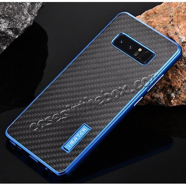 discount Aluminum Metal Bumper Frame Case+Carbon Fiber Back Cover For Samsung Galaxy Note 8 - Blue&Black