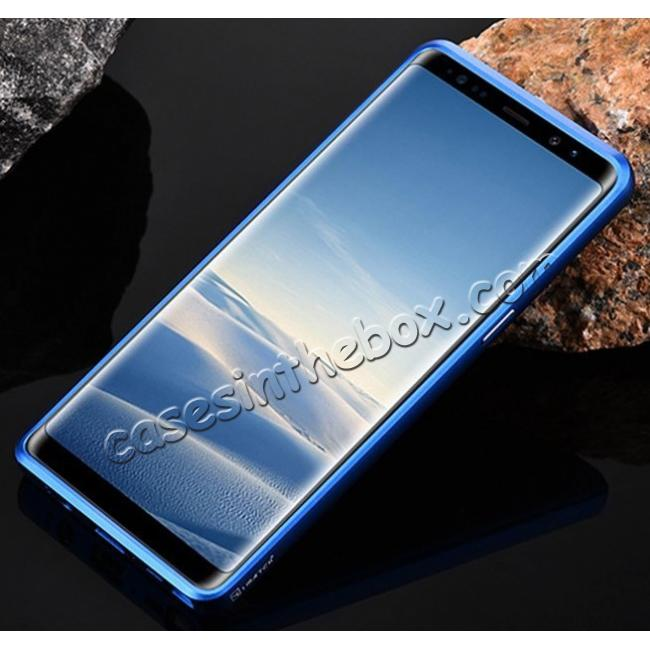 cheap Aluminum Metal Bumper Frame Case+Carbon Fiber Back Cover For Samsung Galaxy Note 8 - Blue&Black
