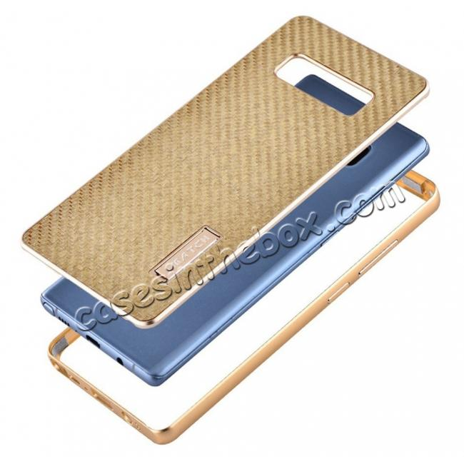 best price Aluminum Metal Bumper Frame Case+Carbon Fiber Back Cover For Samsung Galaxy Note 8 - Blue&Black