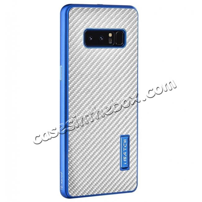 wholesale Aluminum Metal Bumper Frame Case+Carbon Fiber Back Cover For Samsung Galaxy Note 8 - Blue&Silver