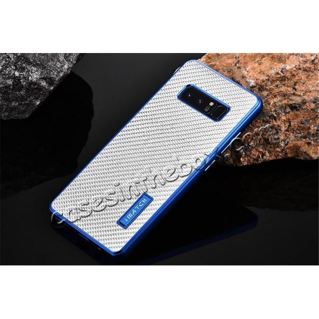 discount Aluminum Metal Bumper Frame Case+Carbon Fiber Back Cover For Samsung Galaxy Note 8 - Blue&Silver