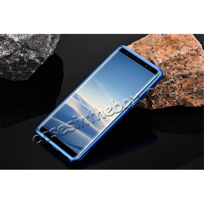 cheap Aluminum Metal Bumper Frame Case+Carbon Fiber Back Cover For Samsung Galaxy Note 8 - Blue&Silver