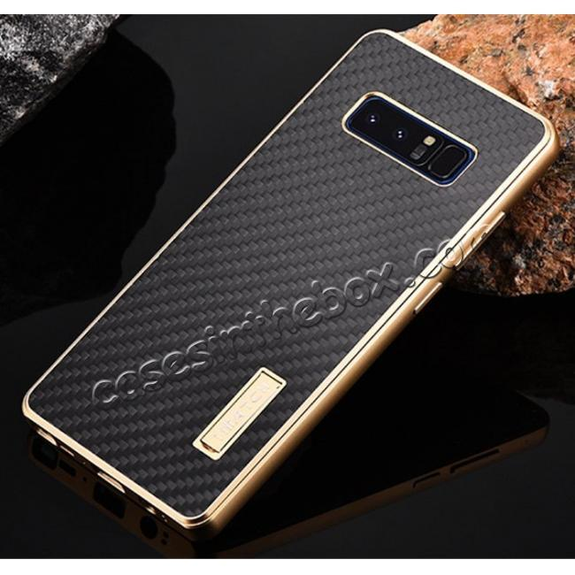 discount Aluminum Metal Bumper Frame Case+Carbon Fiber Back Cover For Samsung Galaxy Note 8 - Gold&Black