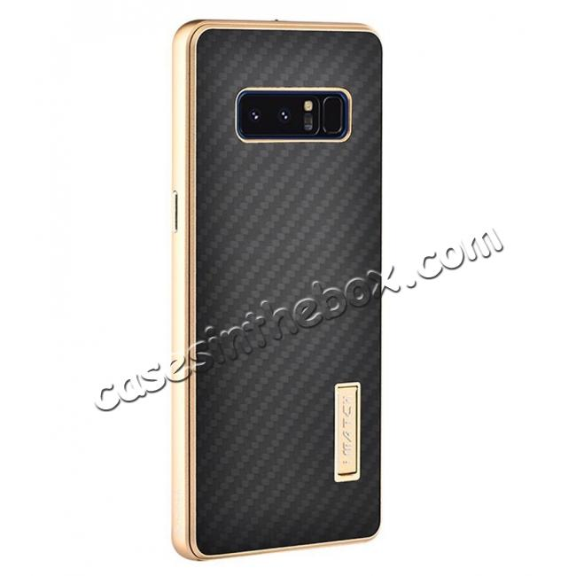 wholesale Aluminum Metal Bumper Frame Case+Carbon Fiber Back Cover For Samsung Galaxy Note 8 - Gold&Black