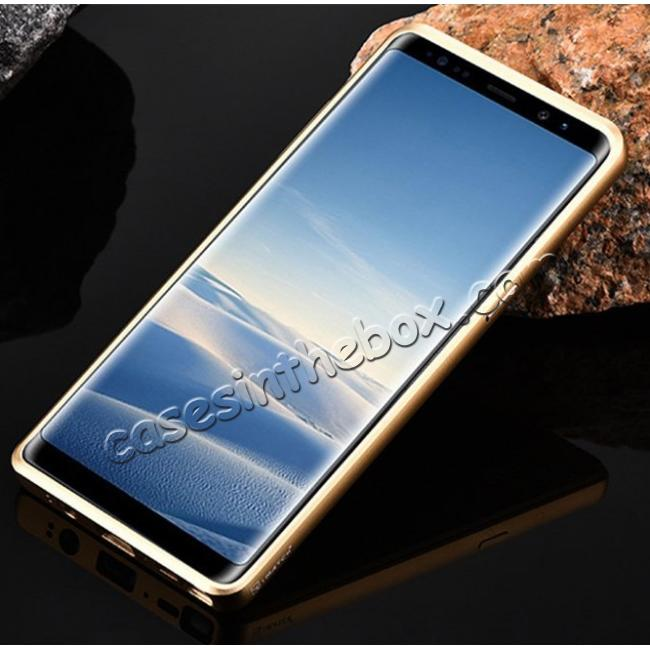 cheap Aluminum Metal Bumper Frame Case+Carbon Fiber Back Cover For Samsung Galaxy Note 8 - Gold&Black