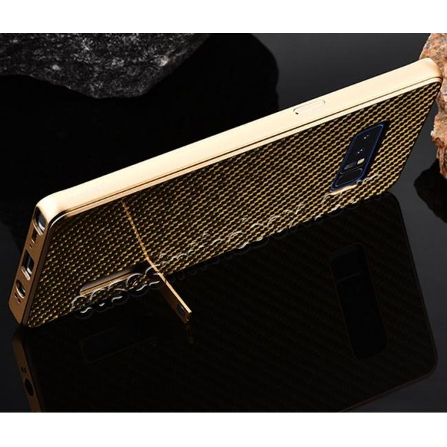 low price Aluminum Metal Bumper Frame Case+Carbon Fiber Back Cover For Samsung Galaxy Note 8 - Gold&Gold