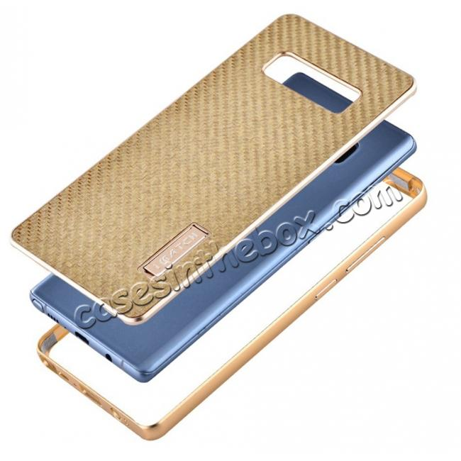 discount Aluminum Metal Bumper Frame Case+Carbon Fiber Back Cover For Samsung Galaxy Note 8 - Gold&Gold