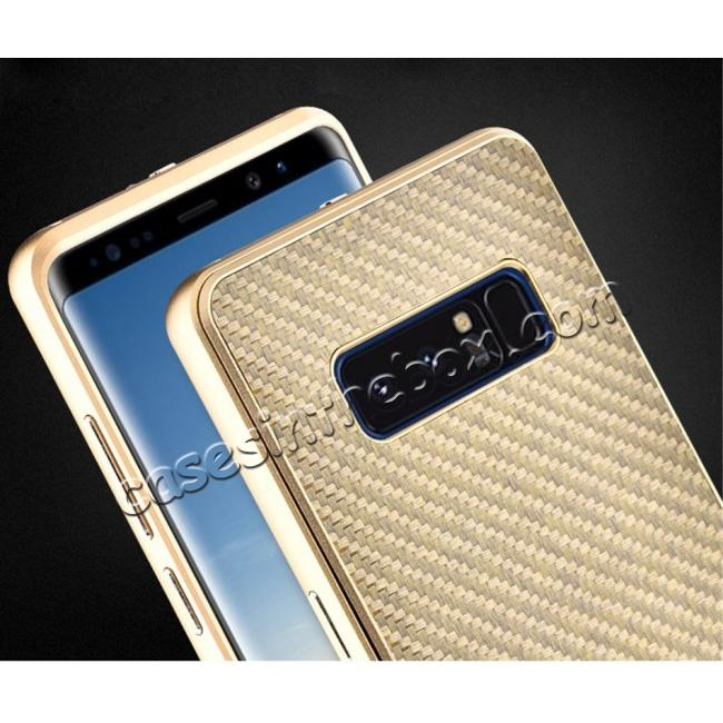 cheap Aluminum Metal Bumper Frame Case+Carbon Fiber Back Cover For Samsung Galaxy Note 8 - Gold&Gold
