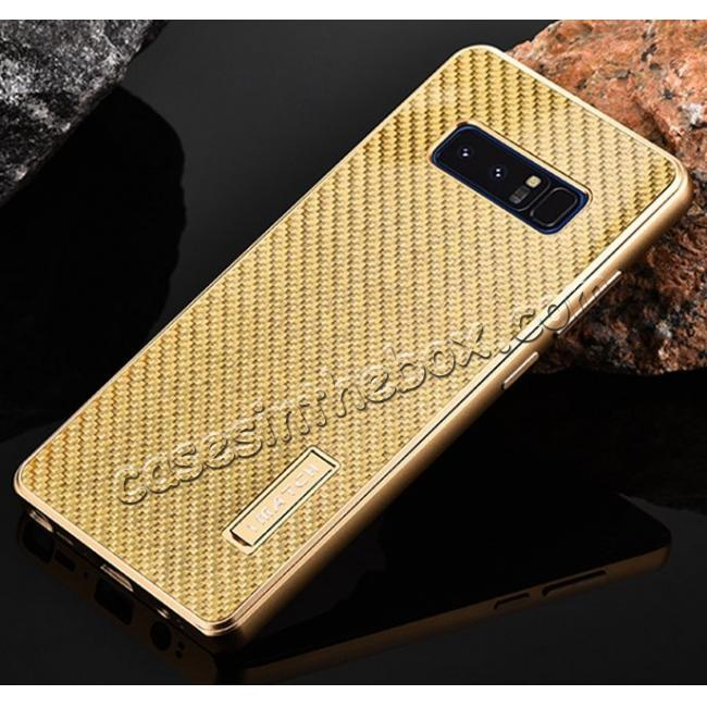 top quality Aluminum Metal Bumper Frame Case+Carbon Fiber Back Cover For Samsung Galaxy Note 8 - Gold&Gold