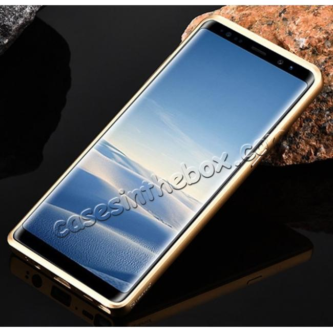 on sale Aluminum Metal Bumper Frame Case+Carbon Fiber Back Cover For Samsung Galaxy Note 8 - Gold&Gold