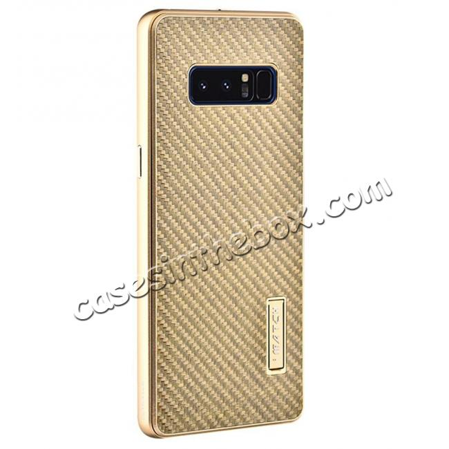 wholesale Aluminum Metal Bumper Frame Case+Carbon Fiber Back Cover For Samsung Galaxy Note 8 - Gold&Gold