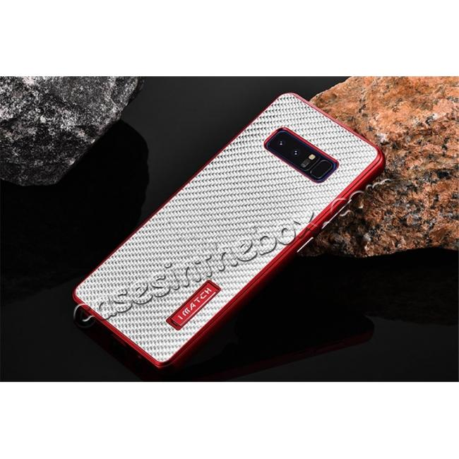 discount Aluminum Metal Bumper Frame Case+Carbon Fiber Back Cover For Samsung Galaxy Note 8 - Red&Silver