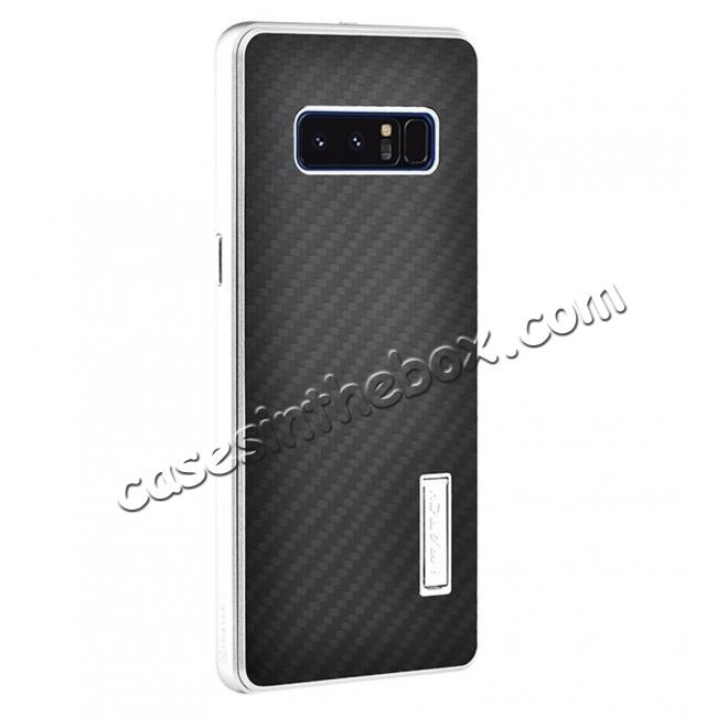wholesale Aluminum Metal Bumper Frame Case+Carbon Fiber Back Cover For Samsung Galaxy Note 8 - Silver&Black