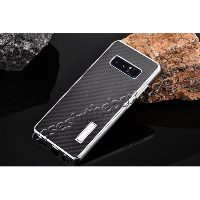 discount Aluminum Metal Bumper Frame Case+Carbon Fiber Back Cover For Samsung Galaxy Note 8 - Silver&Black