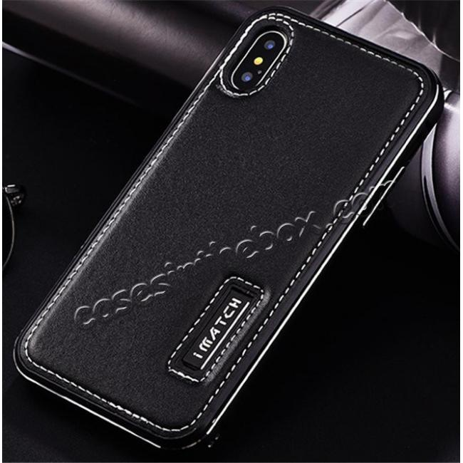 cheap Aluminum Metal Bumper Frame Case+Real Genuine Cow Leather Back Cover for iPhone X - Black