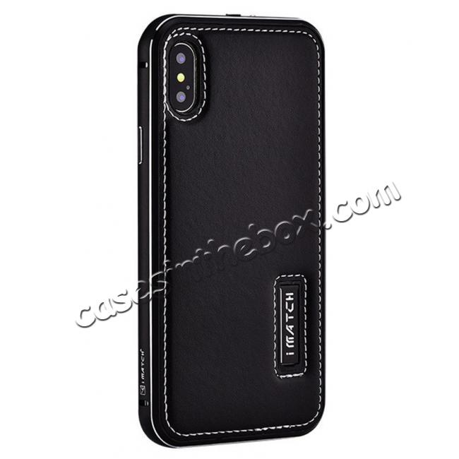 wholesale Aluminum Metal Bumper Frame Case+Real Genuine Cow Leather Back Cover for iPhone X - Black