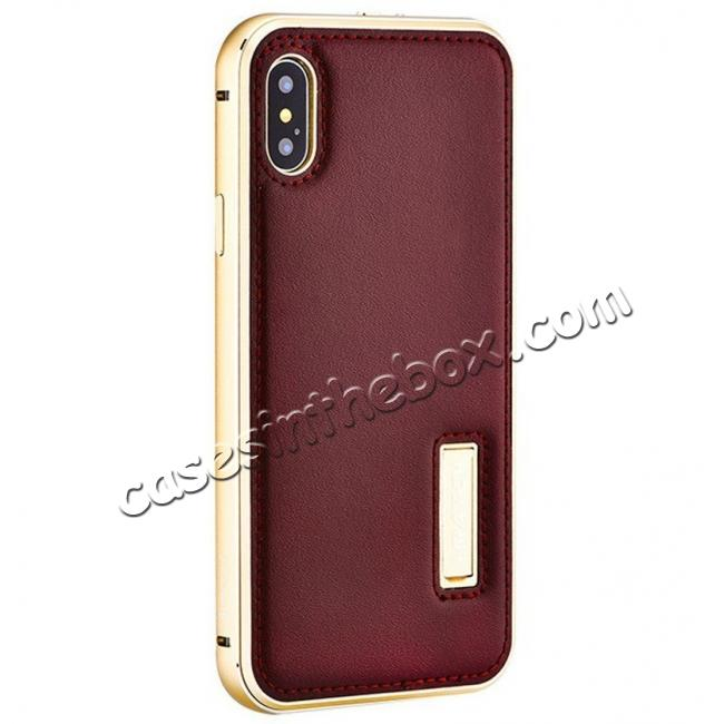 wholesale Aluminum Metal Bumper Frame Case+Real Genuine Cow Leather Back Cover for iPhone X - Gold&Brown