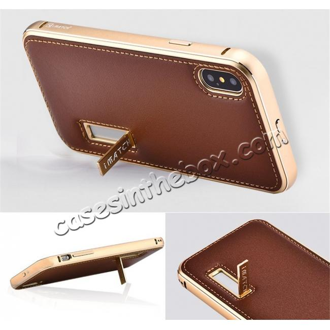 top quality Aluminum Metal Bumper Frame Case+Real Genuine Cow Leather Back Cover for iPhone X - Gold&Brown