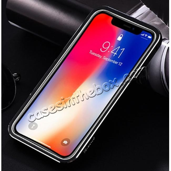 discount Aluminum Metal Bumper Frame Case+Real Genuine Cow Leather Back Cover for iPhone X - Gold&Dark Blue