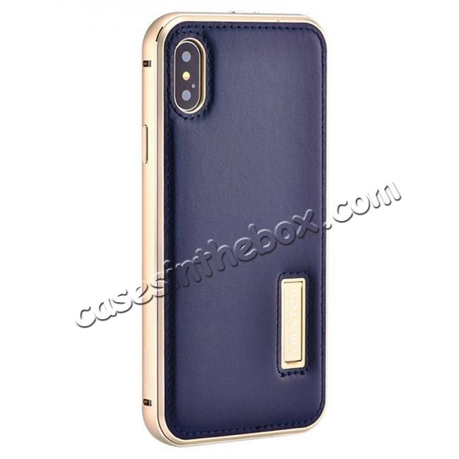 wholesale Aluminum Metal Bumper Frame Case+Real Genuine Cow Leather Back Cover for iPhone X - Gold&Dark Blue
