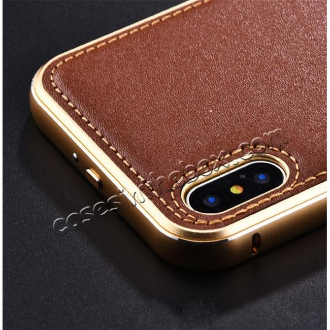 cheap Aluminum Metal Bumper Frame Case+Real Genuine Cow Leather Back Cover for iPhone X - Gold&Dark Blue
