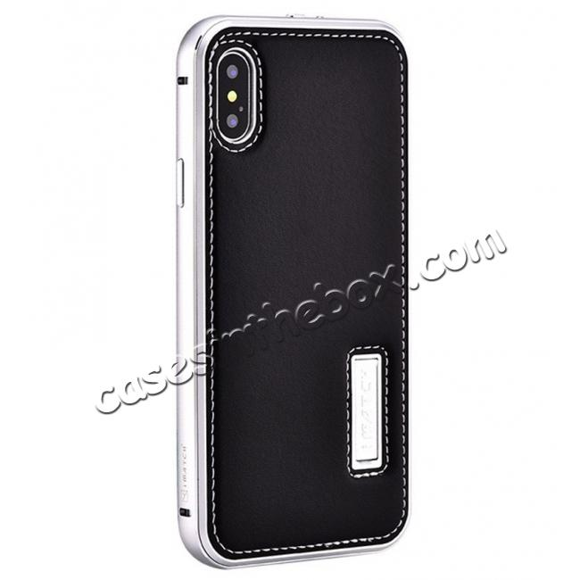 wholesale Aluminum Metal Bumper Frame Case+Real Genuine Cow Leather Back Cover for iPhone X - Silver&Black